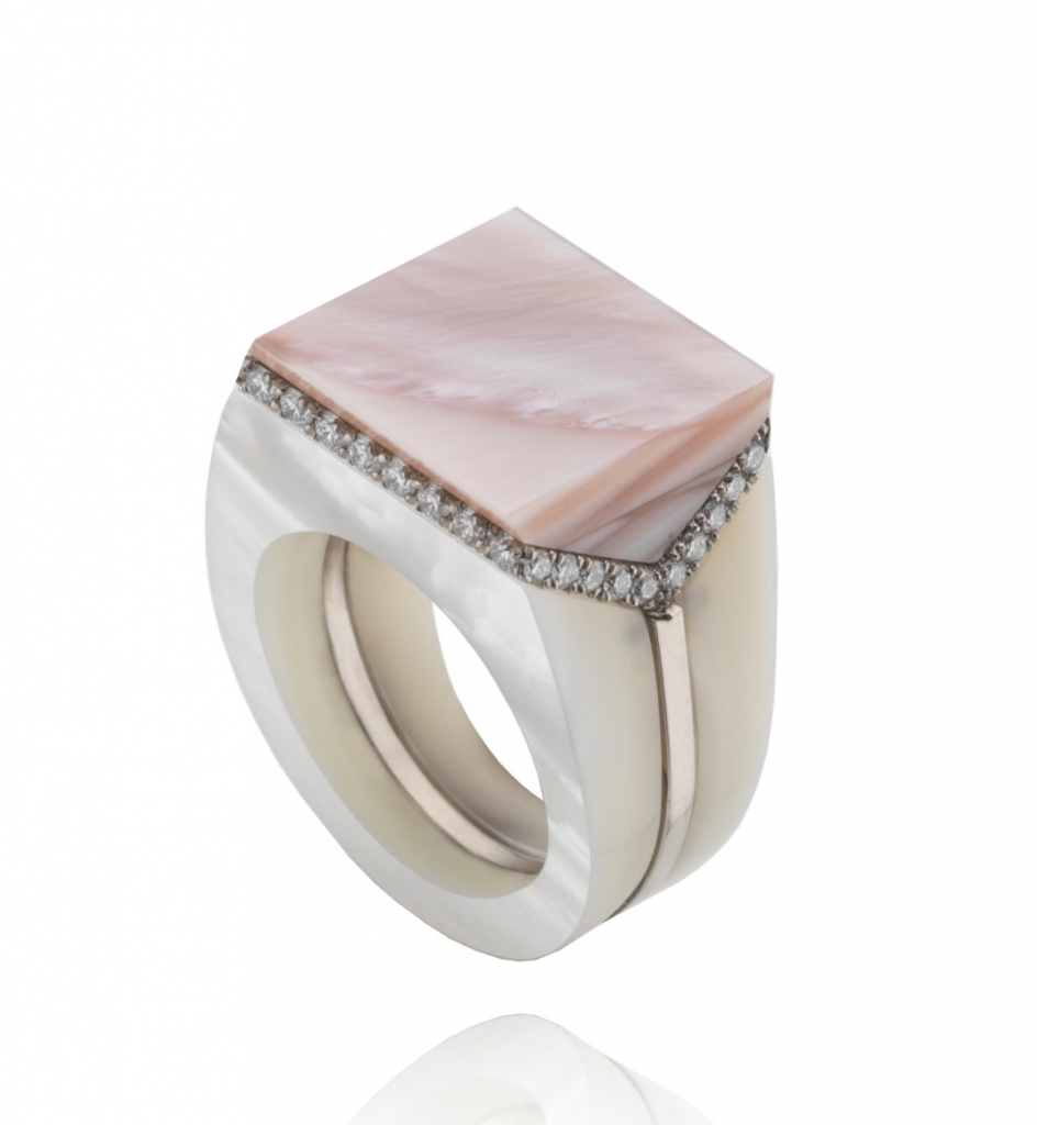 V signet ring in recycled 18k white gold with lavender and white mother-of-pearl and 0.78 ct. t.w. colorless diamonds, £4,800; available online at Melanie Georgacopoulos