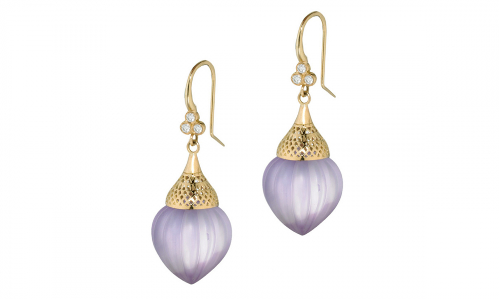 Earrings in 18k yellow gold with hand-cut kite-shape amethyst, $257; available online at Page SargissonEarrings in 18k yellow gold with hand-cut kite-shape amethyst, $257; available online at Page Sargisson