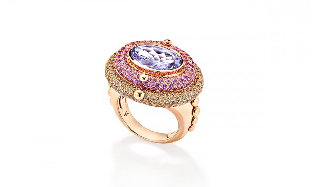 Juke ring in 18k rose gold with 4.81 ct. oval-shape amethyst, 2.11 cts. t.w. pink sapphires, and 1.98 cts. t.w. brown diamonds, $13,435; available online at Robinson Pelham