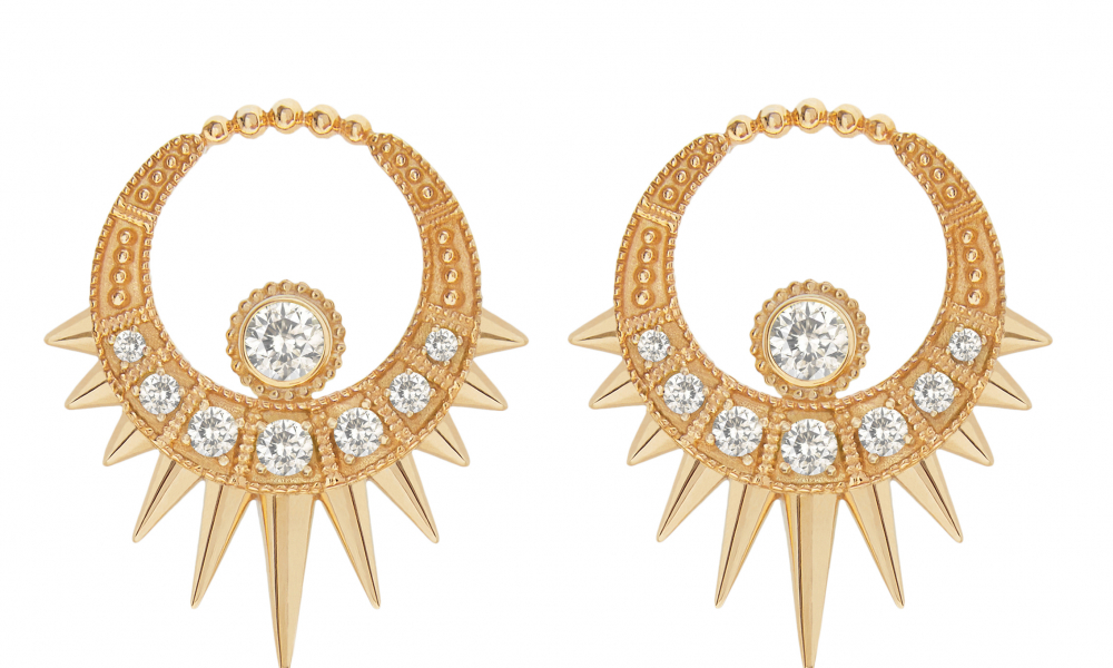 Long White Moon earrings in 18k yellow gold with 1.35 cts. t.w. white sapphires, £2,100; available online at Aurélie Dellasanta