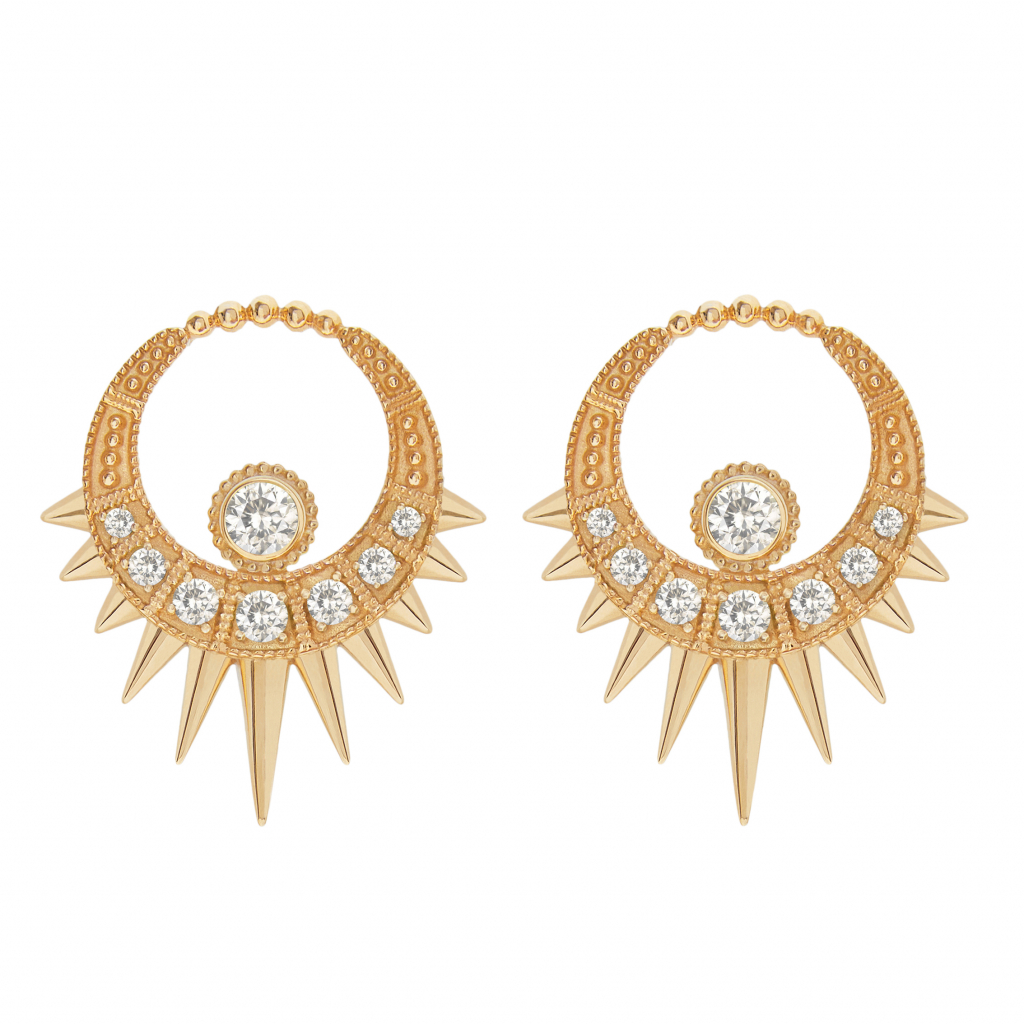 Long Spike Moon earrings in 18k yellow gold with 1.35 cts. t.w. white sapphires, £2,100; available online at Aurélie Dellasanta