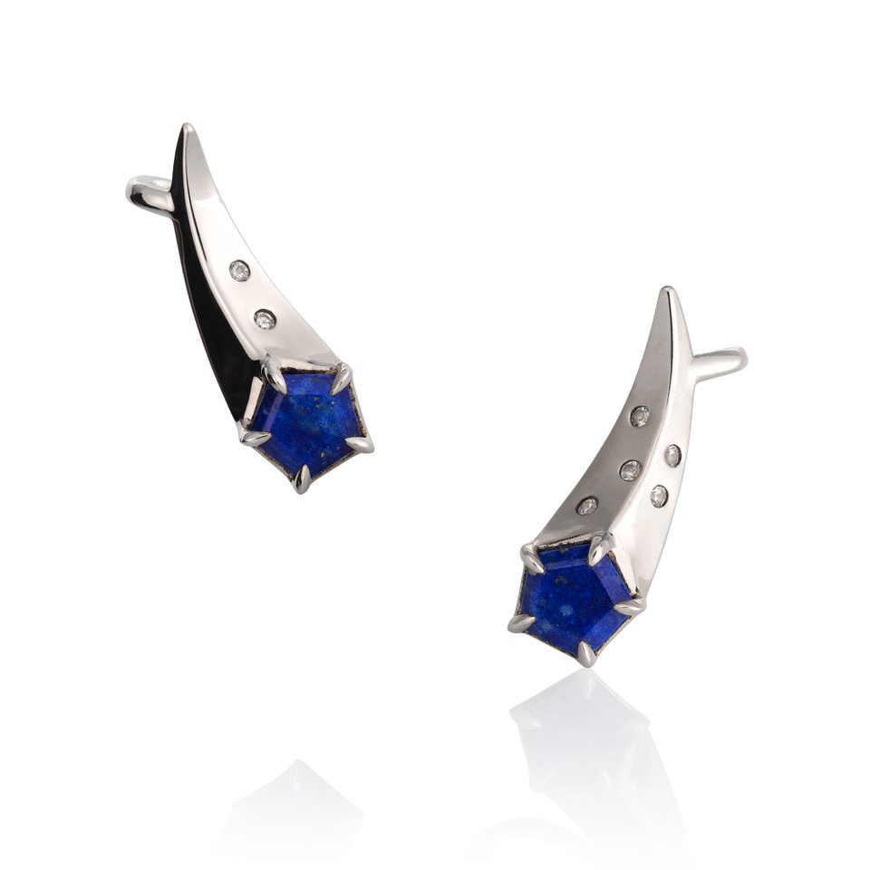 Comet ear climbers in 14k gold with lapis, $950; available online at Martha Seely