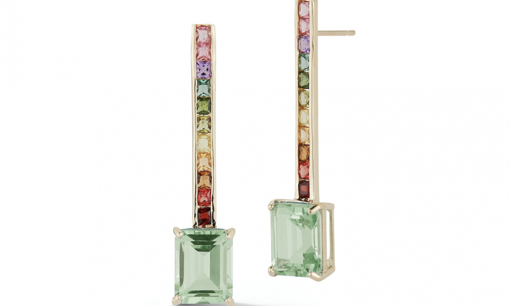 Somewhere Over The Rainbow earrings in 14k gold rainbow-color sapphires and green amethyst, $2,275; Mateo, available online at Mateo