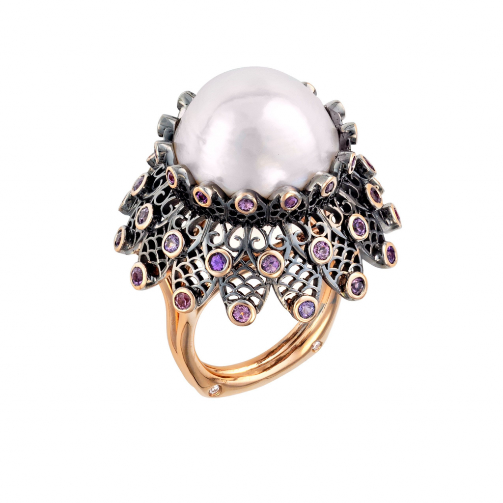 Black Lace white freshwater pearl ring by Brenda Smith of Brenda Smith Jewelry