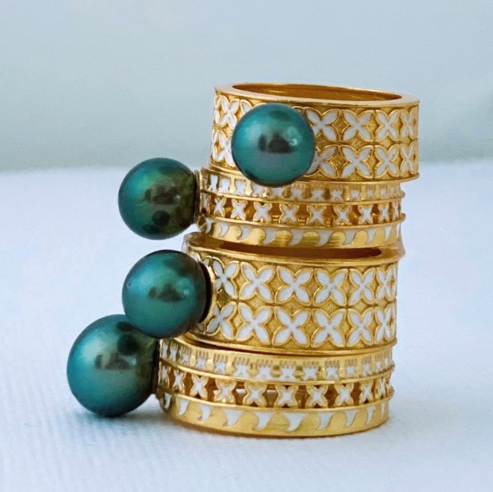 Marama ring in gold fill with Tahitian pearls, $450 NZD; available online at Shahana Jewels