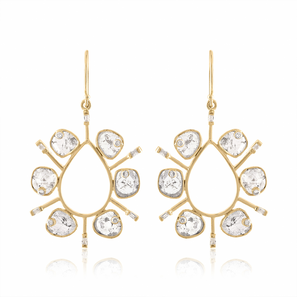 Statement earrings in 14k yellow gold with 1.84 cts. t.w. diamonds, $3,590; Loriann Jewelry, available online at Loriann Jewelry
