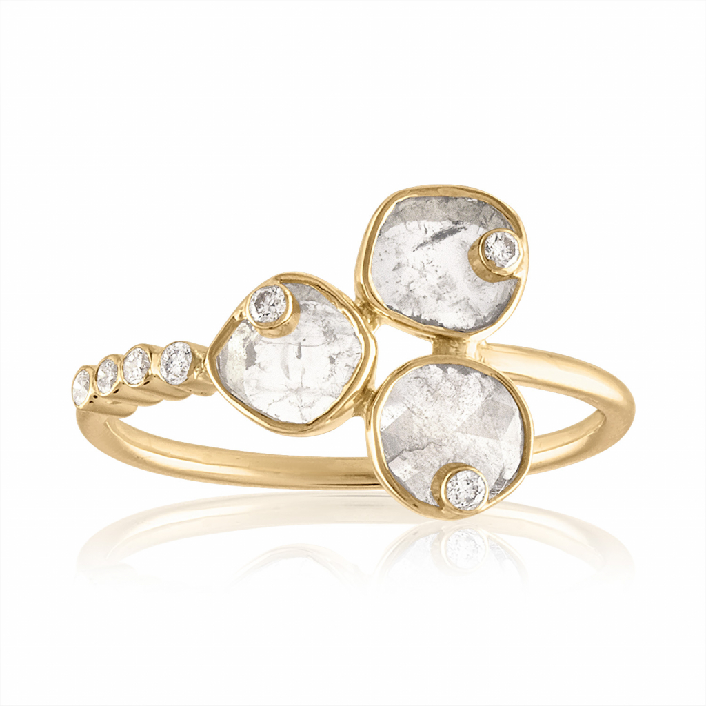 Cluster ring in 14k yellow gold with 0.44 cts. t.w. diamonds, $935; Loriann Jewelry, available online at Loriann Jewelry