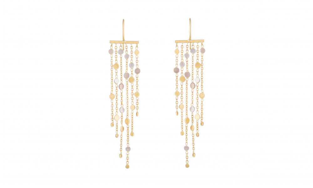 Falling Dust 6-strand earring in 18k yellow and white gold with platinum dots, £2,175; available online at Sia Taylor