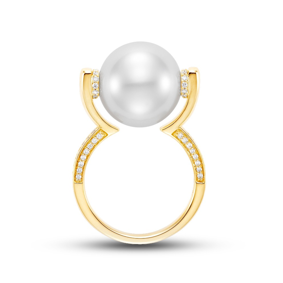 Floating pearl cocktail ring in 18k yellow gold with a 13–13.5 mm white South Sea pearl and 0.26 ct. t.w. diamonds, $4,400; email dan@mastoloni.com at Mastoloni for purchase