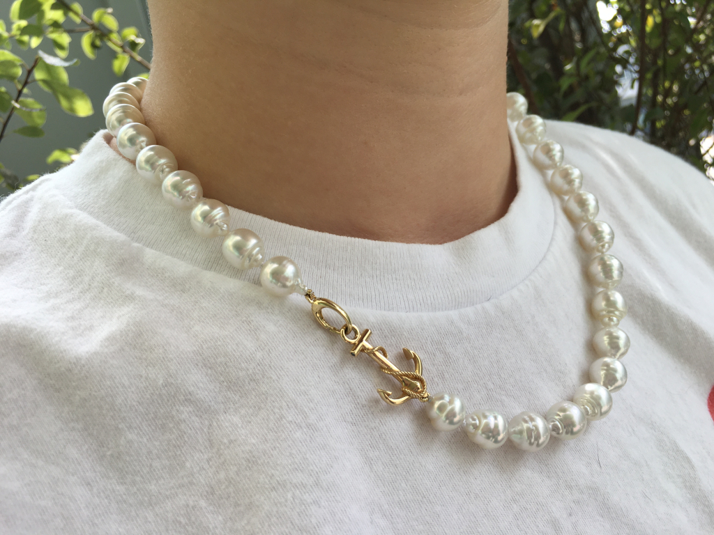 White South Sea pearl strand with a karat-gold nautical clasp purchased from PearlParadise.com