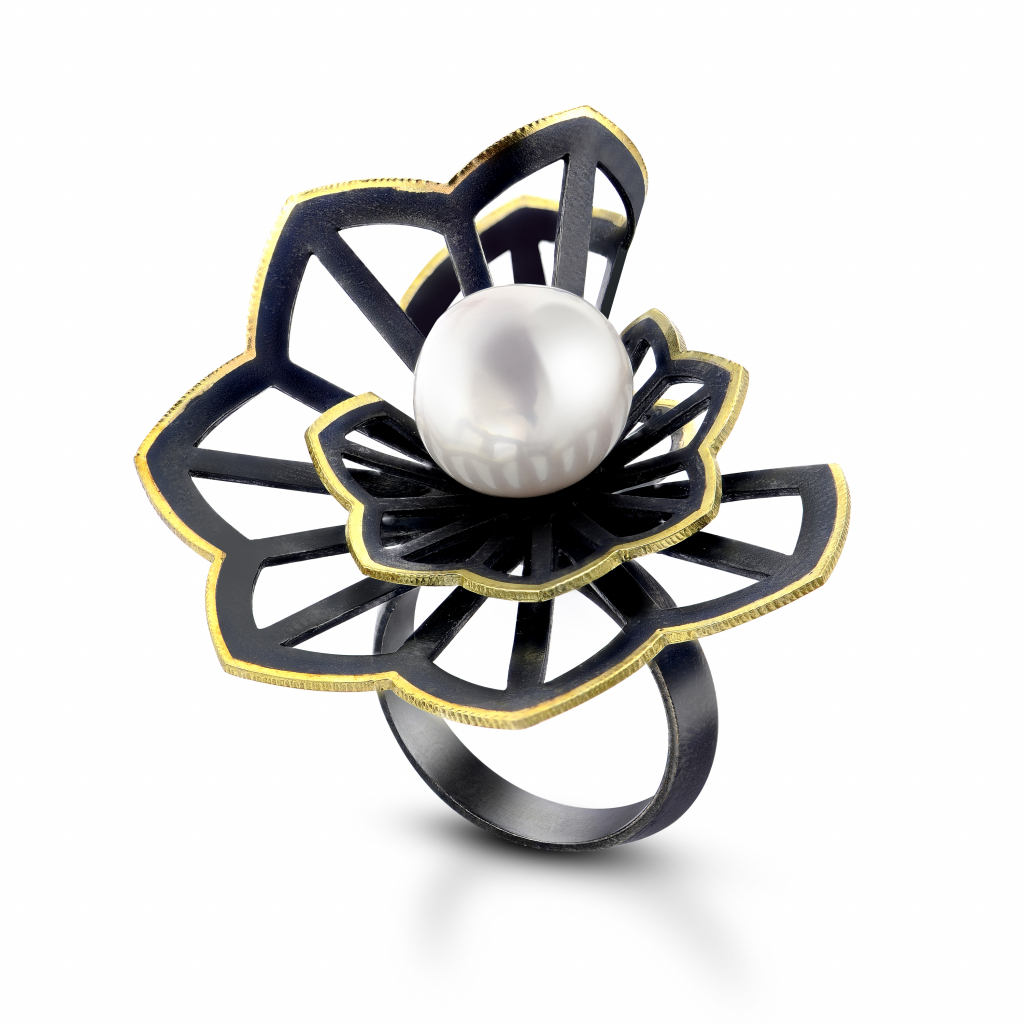 Double Hyacinth Fold freshwater pearl ring by Karin Jacobson Jewelry