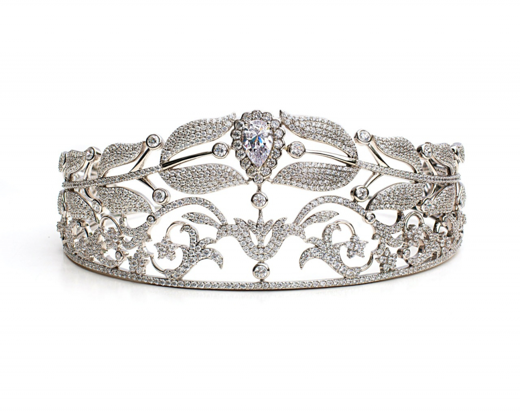 Royal 02 Tiara in rhodium-plated sterling silver with CZ, $1,995, Anna Zuckerman; available online at Anna Zuckerman Luxury
