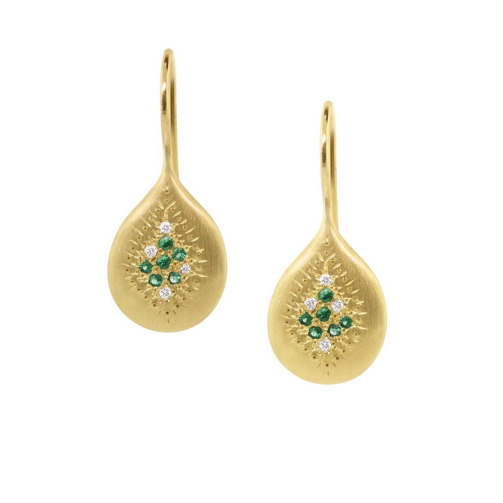 Earrings in 18k yellow gold with emeralds and 0.04 ct. t.w. diamonds, $2,705