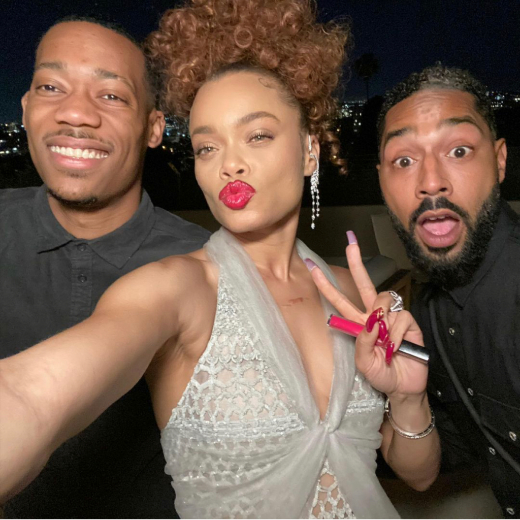"Andra Day in Chanel (Day is shown with Tyler James Williams and Tone Bell). Day won Best Actress – Motion Picture Drama, for her role in ""The United States v. Billie Holiday."" Source: @andradaymusic"