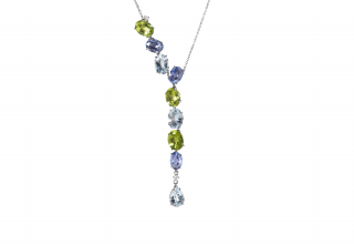 Necklace in 18k white gold with 2.34 cts. t.w. sapphires, 2.4 cts ct. peridot. 1.5 cts. t.w. aquamarine, and 0.07 cts. t.w. diamonds., $2,940; email tatiana.tonizzo@antonini.it for purchase