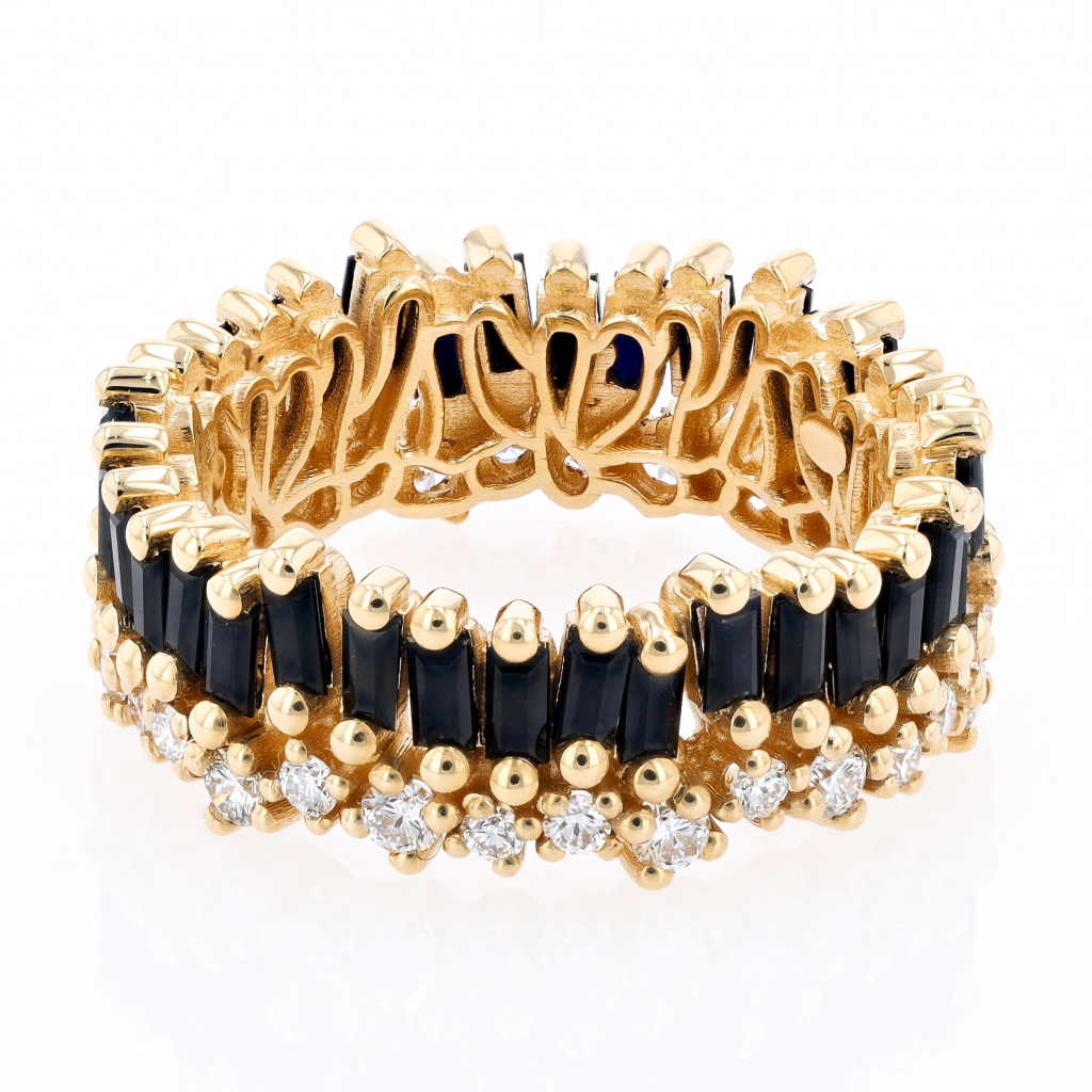 Eternity band in 18k yellow gold with 0.70 ct. t.w. baguette-cut black sapphires and 2.35 cts. t.w. colorless diamonds, $5,000; email info@suzannekalan.com for purchase