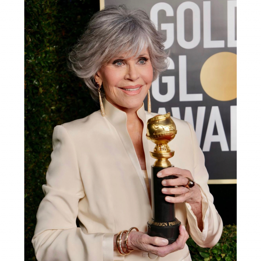 Jane Fonda in Pomellato. Fonda took this year's Cecil B. deMille Award. Source: @pomellato