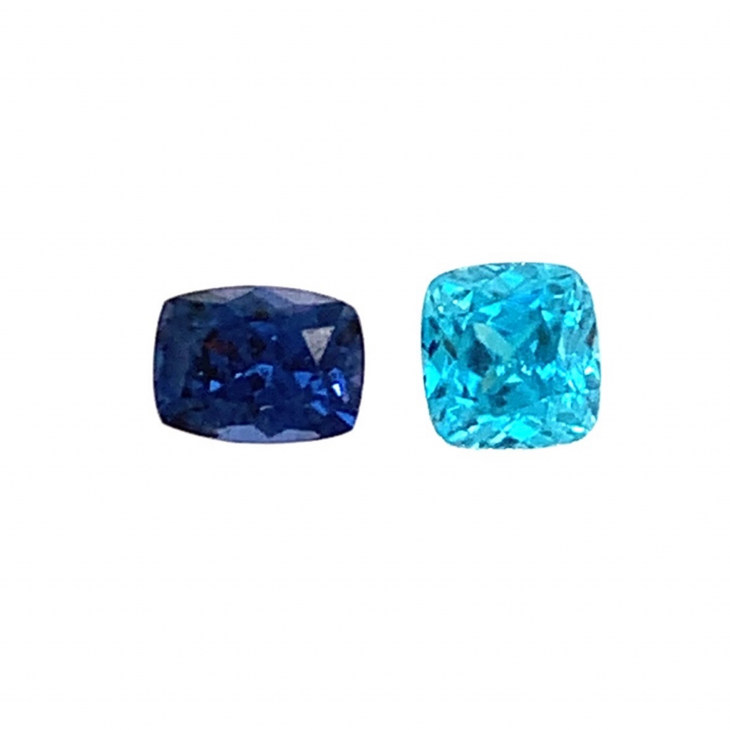 (left to right): Blue spinel and blue zircon from Kimberly Collins Gemstones