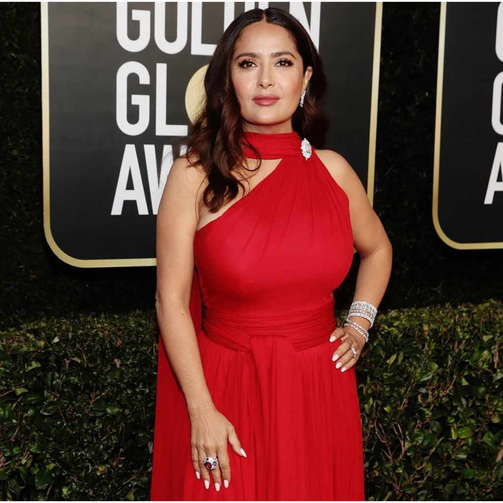 Salma Hayek in Harry Winston. Hayek was a presenter this year. @harrywinston