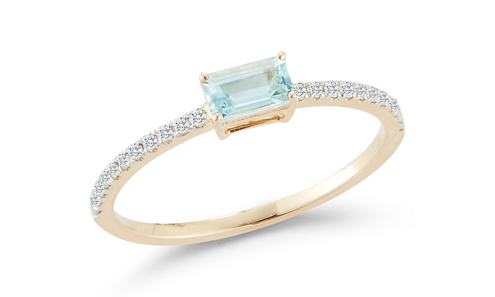 Ring in 14k yellow gold with 0.26 ct. t.w. aquamarine and 0.12 ct. t.w. diamonds, $950; available online at Mateo New York