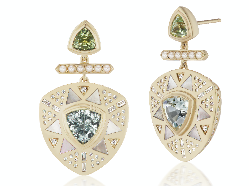 Earrings in 18k gold with 3.79 cts. t.w. aquamarine, 1.50 cts. t.w. tourmaline, 1.10 cts. t.w. white mother of pearl, and 0.936 ct. t.w. diamond, $12,150; email meaghan@forfuturereference.com for purchase