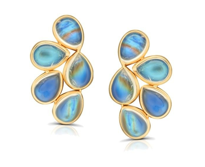 Butterfly stud earrings in 18k yellow gold with 3.69 cts. t.w. rainbow moonstone, $575; available online at Tresor Jewels