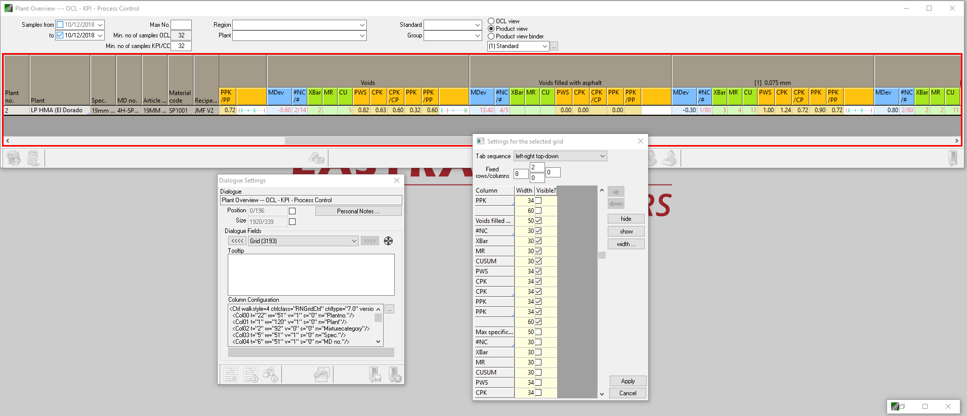 Construction Materials Testing DashBoard Showing Configuration