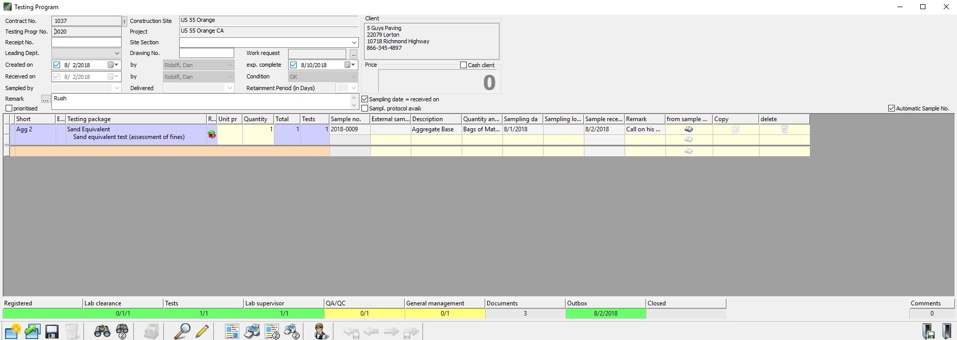 Construction Materials testing Laboratory Workflow Management Module Status Bar