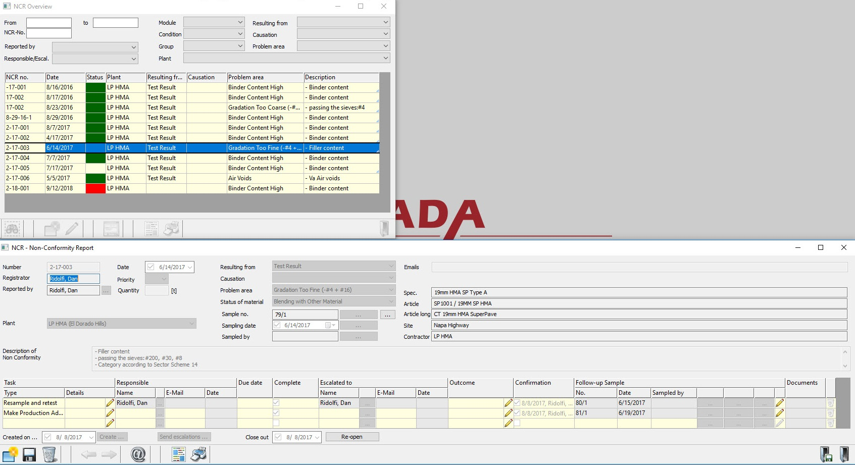 Construction Materials testing Non-Compliance Reporting Module