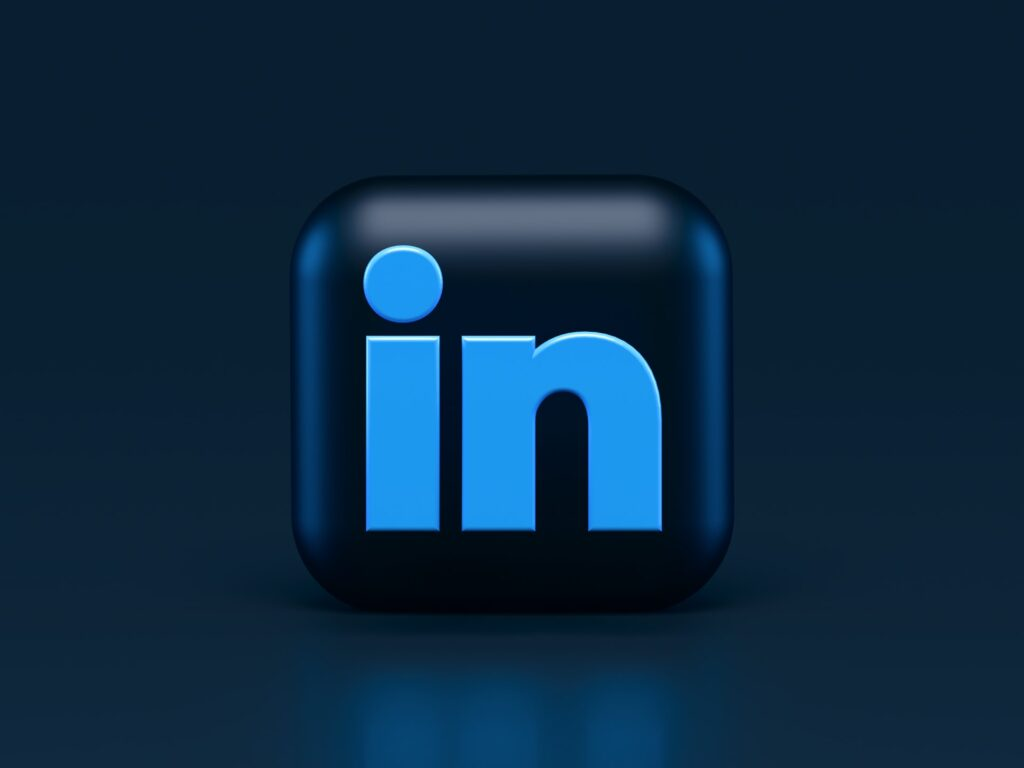 LinkedIn logo with blue background