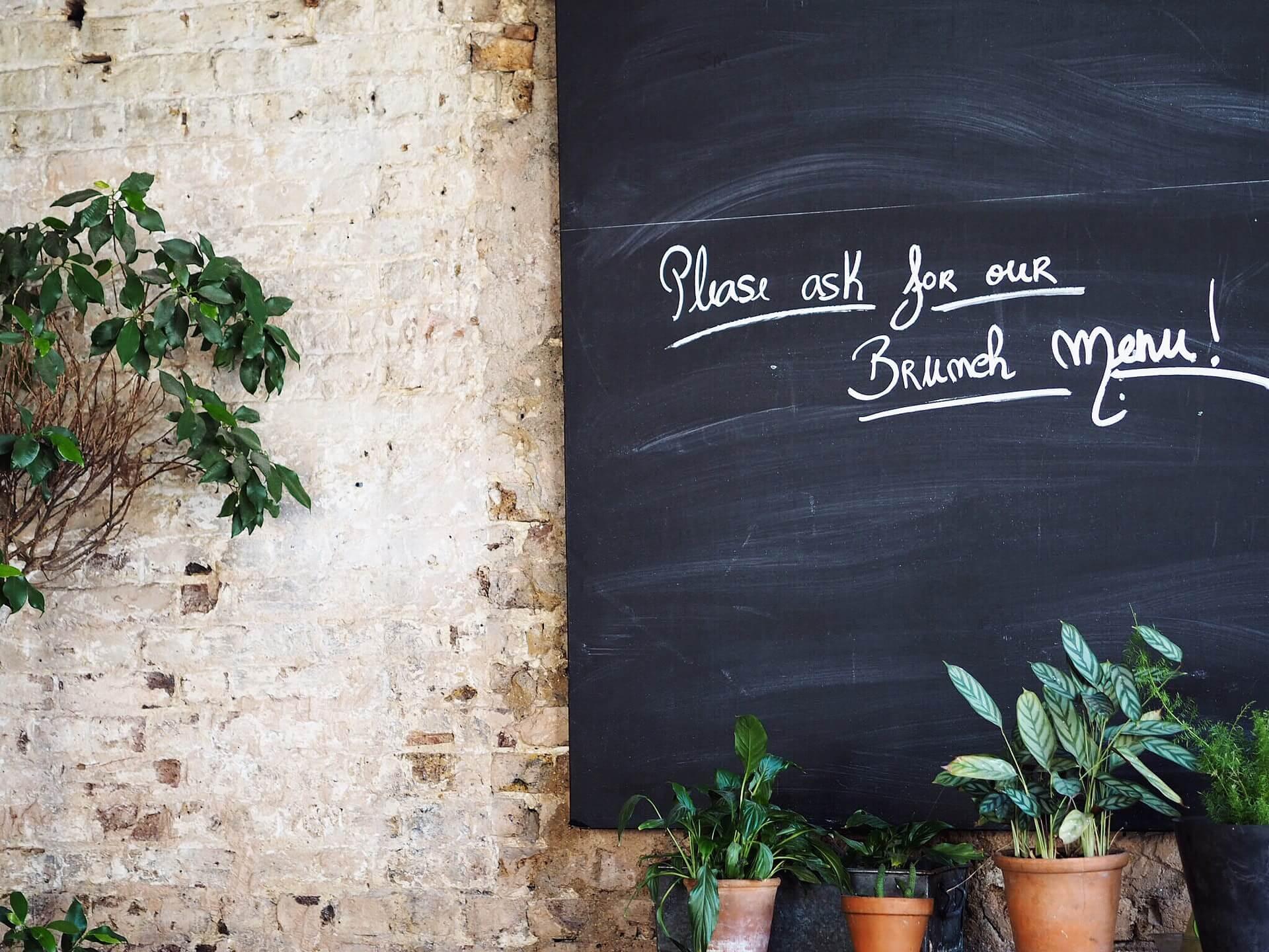 Please ask for our brunch menu chalk restaurant sign