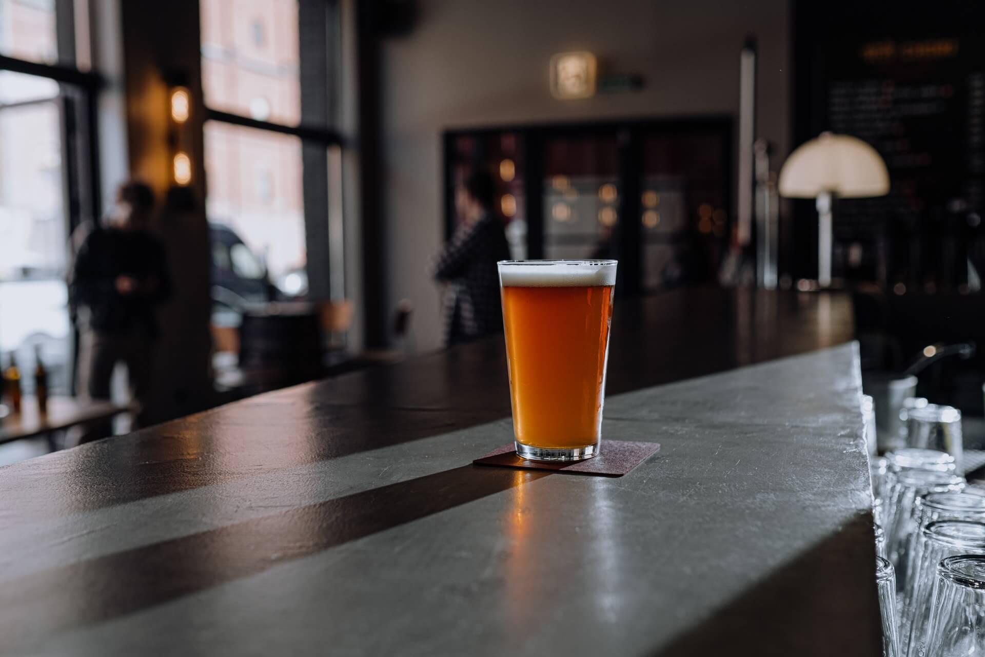 Draft beer on bar