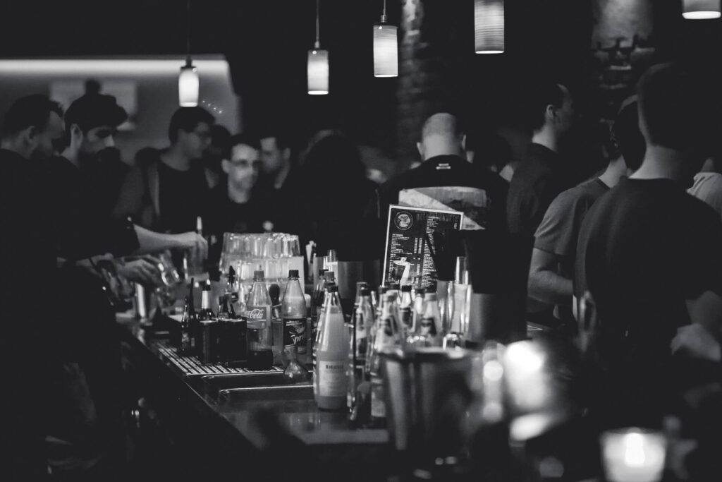 Busy bar in black and white