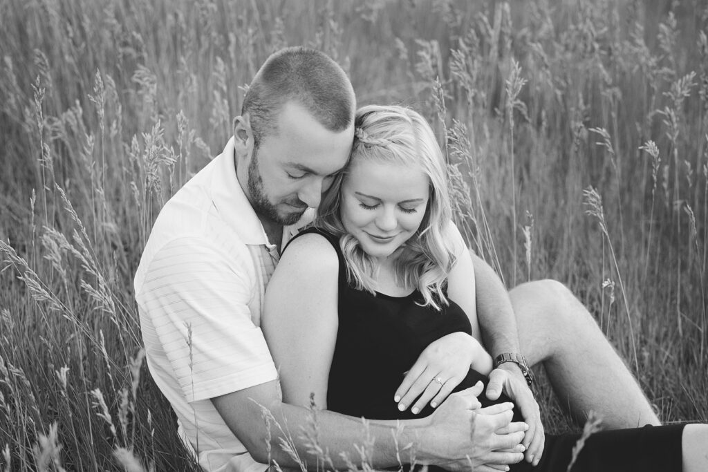 black and white classic engagement photo, colorado springs engagement photographer, maternity photographer