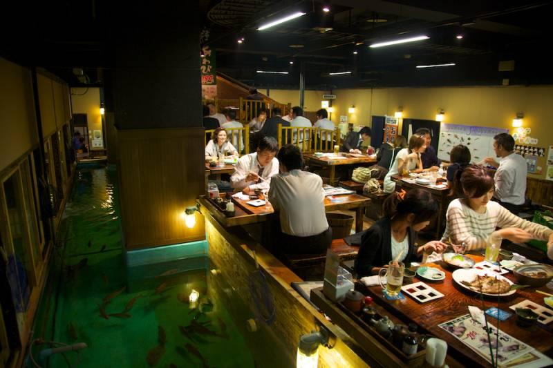 Eating fish at Zauo restaurant