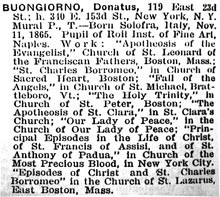 Donatus Buongiorno's 1919 listing in American Art Annual. Source: Levy, Florence N., American Art Annual Vol. XVI, New York, 1919, p. 324.