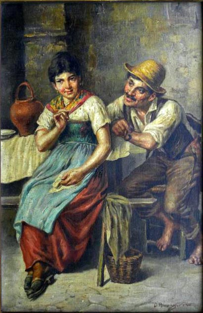 Man Flirting with Woman painting