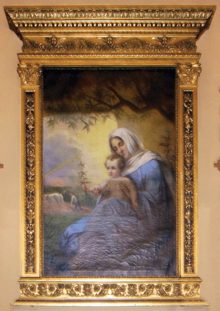 """""""Our Lady of Peace"""" mural above altar. Photograph ©2007 Janice Carapellucci. Used with permission."""