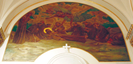 Principal Episodes in the Life of St. Francis of Assisi, mural above side altar. Photograph ©2007 Janice Carapellucci. Used with permission.