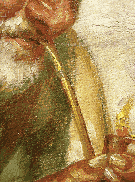 Man Lighting Pipe, signed, detail of edge of shoulder showing blue outline of under-drawing, collection of author