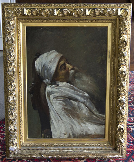Painting in elaborate composition frame similar to Man Lighting Pipe, unsigned, collection of author