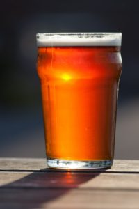 Amber colored Augustino Brewing Beer