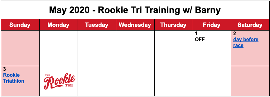 Barny's free training plan for the month of May for the 2020 Rookie Triathlon.