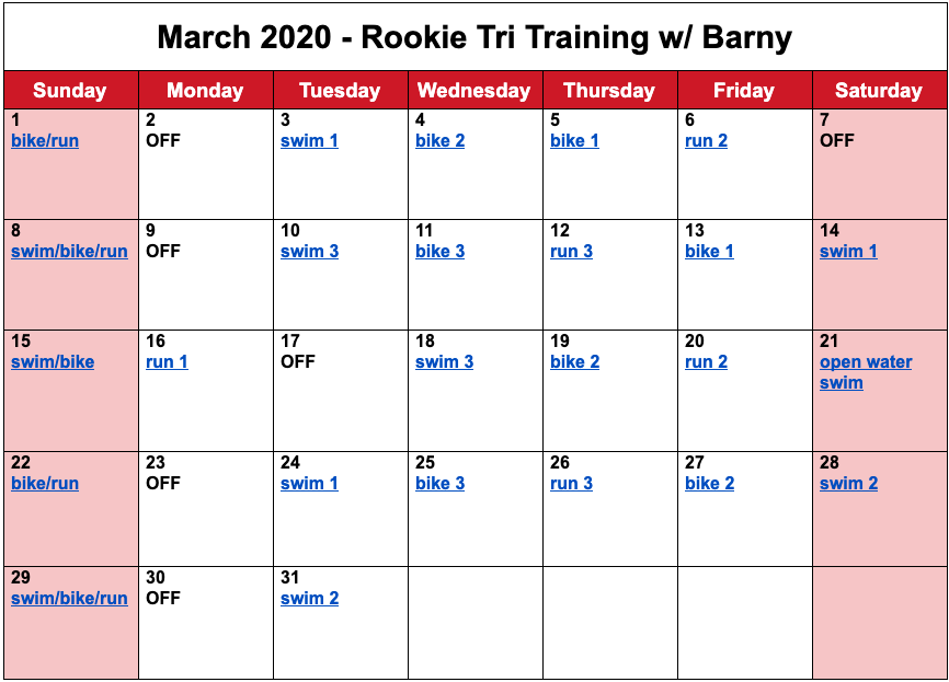 Barny's free training plan for the month of March for the 2020 Rookie Triathlon.