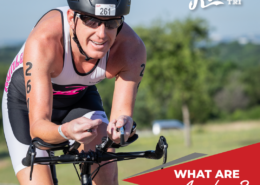Cyclist leans on his aero bars during the 2018 Rookie Triathlon. Text on design reads What Are Aero Bars? Read the blog and learn more at https://therookietri.com/understanding-aero-bars/