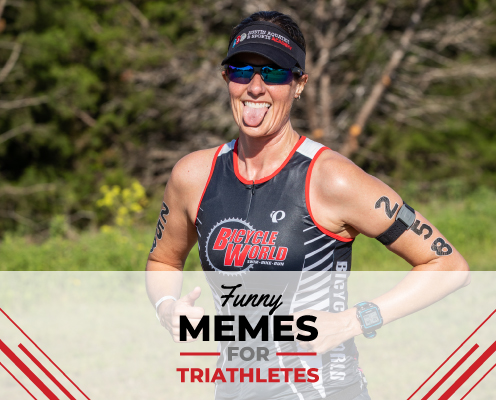 Triathlete sticks out her tongue at the camera during the run portion of The Rookie Triathlon. Text on design reads Funny Memes for Triathletes. Read more at https://therookietri.com/funny-memes-for-triathletes/
