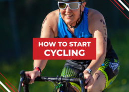 Rider smiles on the bike during the Rookie Triathlon. Text on design reads How to Start Cycling. Learn more at https://therookietri.com/how-to-start-cycling/