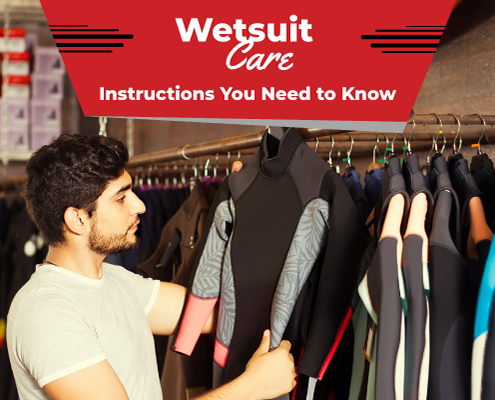 Swimmer examines his wetsuit before placing it in storage. Text on design reads Wetsuit Care Instructions You Need to Know. Learn more at https://therookietri.com/wetsuit-care-instructions/