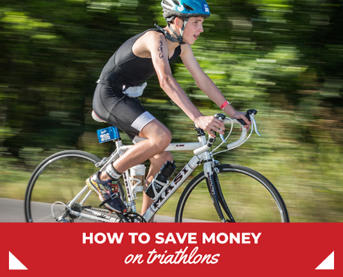 Young cyclist rides during the bike portion of The Rookie Triathlon. Text on design reads How to Save Money on Triathlon. Read more at https://therookietri.com/save-money-on-triathlon/