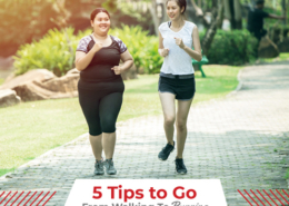 Two women jog side-by-side on a paved trail. Text on design reads 5 Tips to Go from Walking to Running. Learn more at https://therookietri.com/from-walking-to-running/